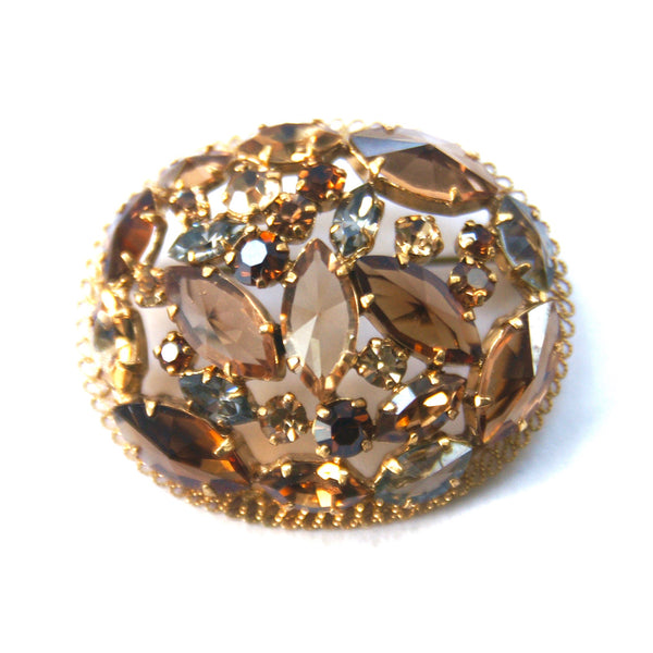 1950s Austrian Rhinestone Brooch, Brown, Grey, Gold Plate