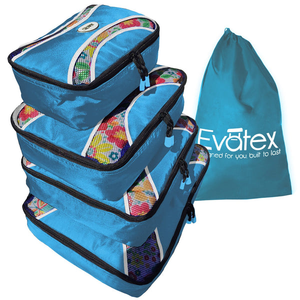 833b226c5bc2 Evatex Packing Cubes | Travel Packing Cubes, 6 psc Set with Shoe Bag and  Laundry Bag Marine Blue