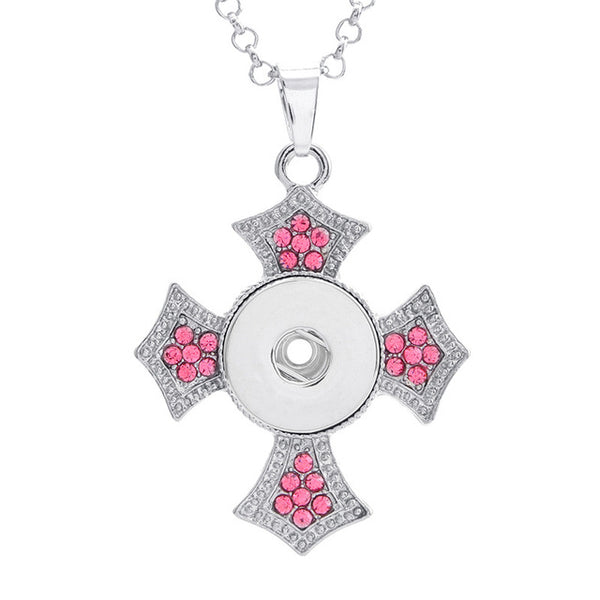 Trendy Crystal Lucky Cross Snap Button Pendant