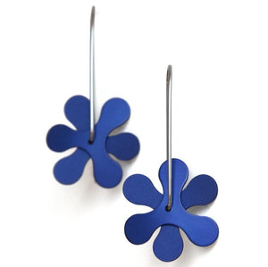 Anodized Earrings Propeller Curve Blue