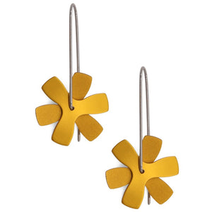 Anodized Earrings Propeller Flat Gold