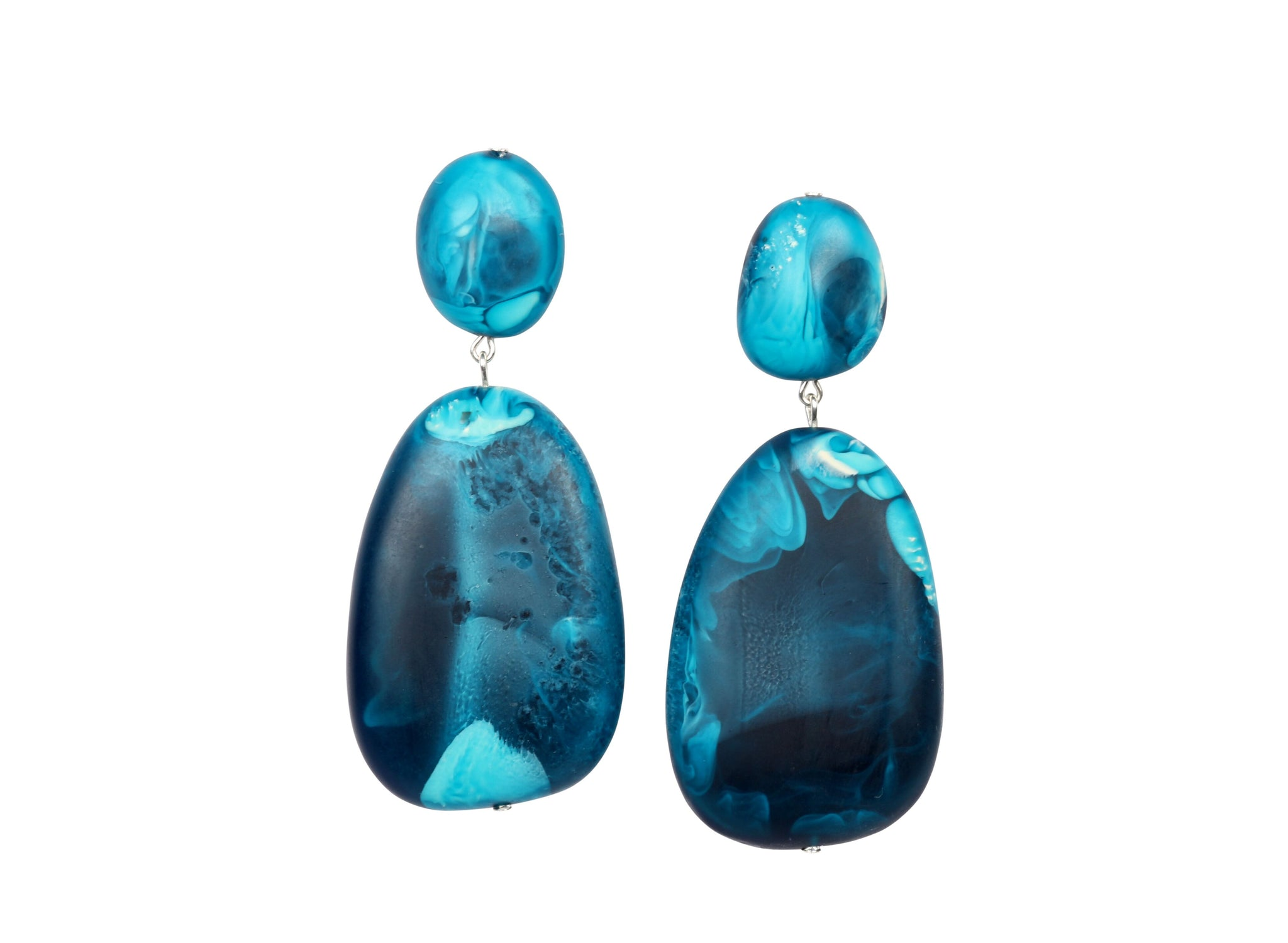 River Rock 2 Drop Earrings Moody Blue Swirl