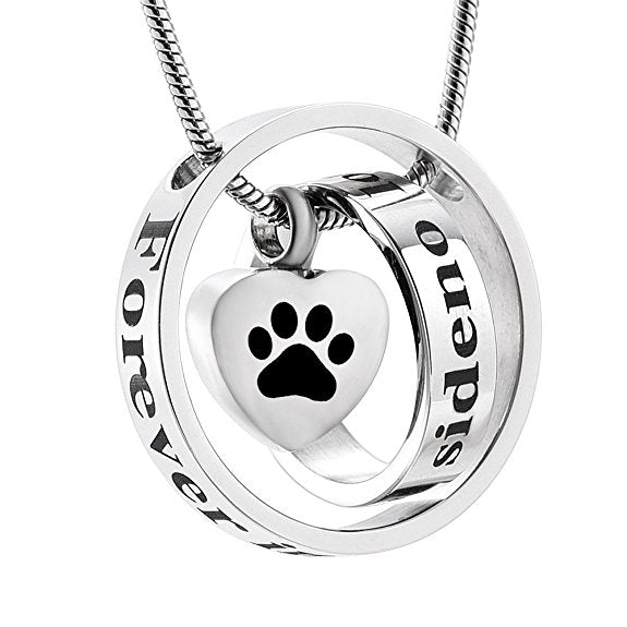 Dog Paw Print Cremation Memorial Ash Necklace