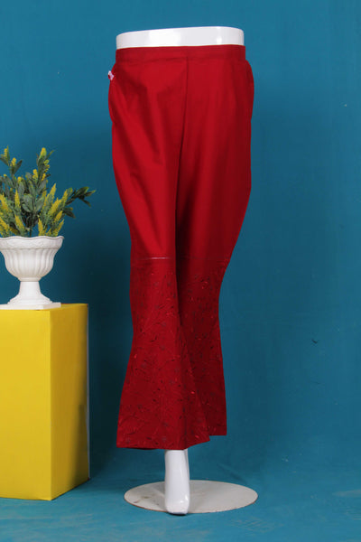 Skin,Black,Red Cambric Embroidered Trouser 636