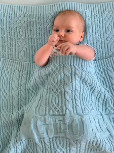 "Organic Cotton Baby Blanket - Personalized - 40"" x 30"" (75x100 cm)"