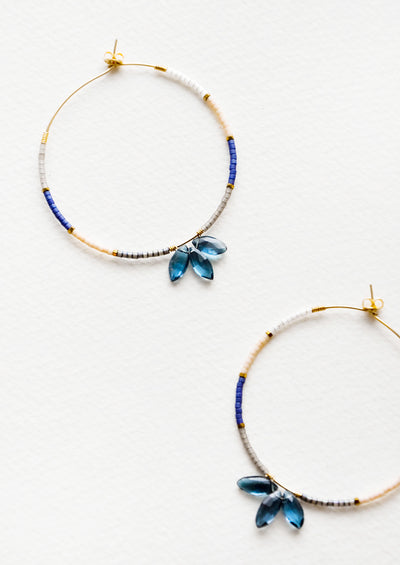 Cassi Gem Beaded Hoop Earrings