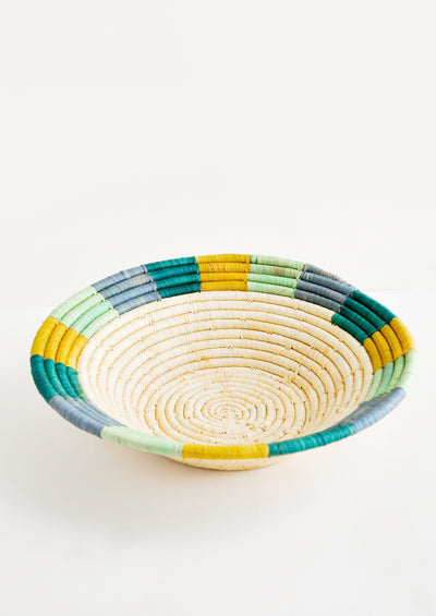 Colored Rim Raffia Basket