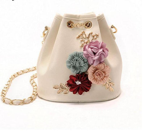 Handmade Flowers Bucket Bags  With Chain Drawstring