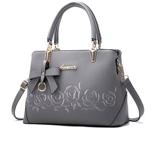 Europe fashion leather handbag with printing flowers