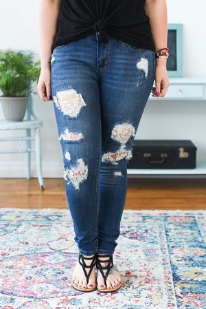 Lace Patch Mid-Rise Judy Blue Jeans