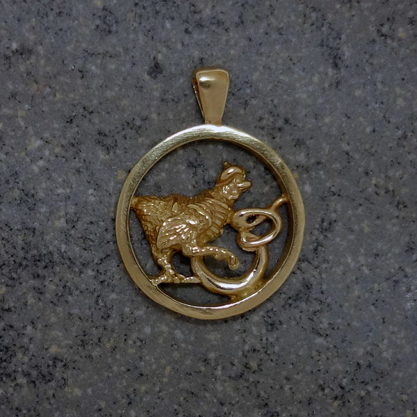 Thee French Hens Circle Pendant handmade in Sterling or 14k Gold by Tosa Fine Jewelry