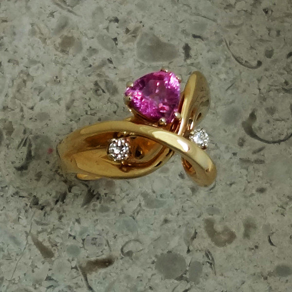 Pink Sapphire and Diamond Ring in 14k gold USA Handmade
