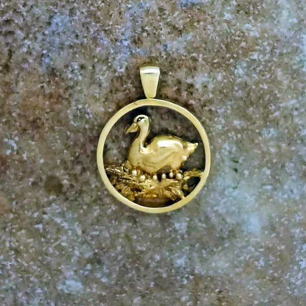 Six Geese A-Laying Pendant handmade in Sterling or 14k Gold by All Animal Jewelry