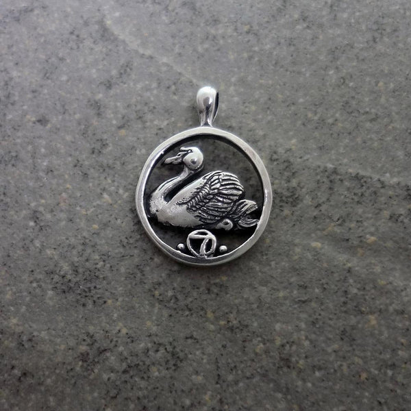 Seven Swans a Swimming Pendant handmade in Sterling or 14k Gold by All Animal Jewelry