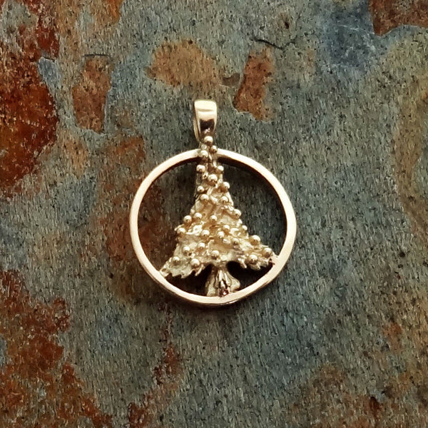 Christmas Tree Circle Pendant handmade in Sterling or 14k Gold by Tosa Fine Jewelry