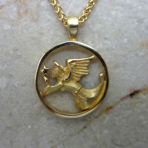 Guardian Angel and Star Circle Pendant handmade in Sterling or 14k gold by Tosa Fine Jewelry