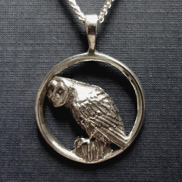Barn Owl Pendant handmade in Sterling or 14k gold by All Animal Jewelry