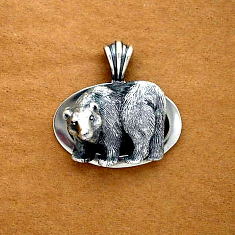 Grizzly Bear Brown Bear Oval Pendant handmade in Sterling or 14k gold by Tosa Fine Jewelry