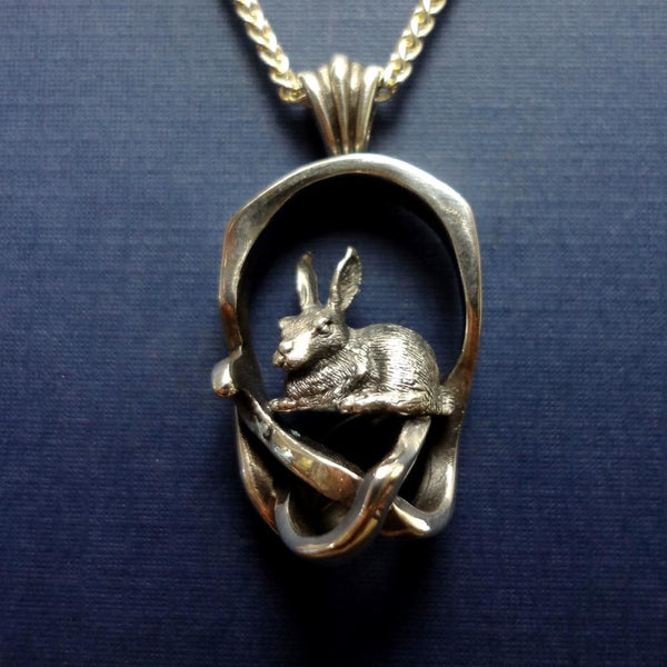 Rabbit Briar Patch Pendant handmade in Sterling or 14k Gold by All Animal Jewelry