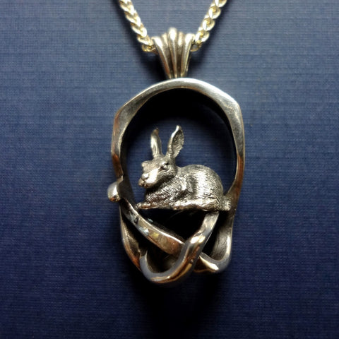 Rabbit Briar Patch Pendant handmade in Sterling or 14k Gold by Tosa Fine Jewelry