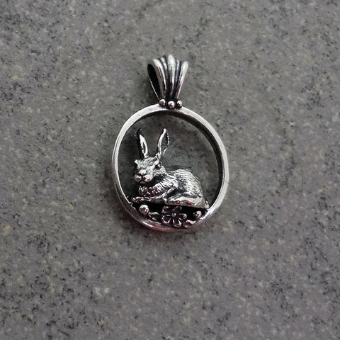 Bunny Rabbit Pendant handmade in Sterling or 14k Gold by All Animal Jewelry