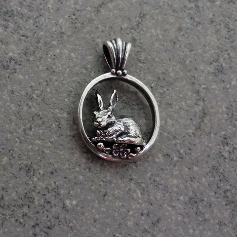 Bunny Rabbit Circle Pendant handmade in Sterling or 14k Gold by Tosa Fine Jewelry
