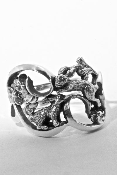 Double Bunny Rabbit Ring Hand Made in Sterling or Gold