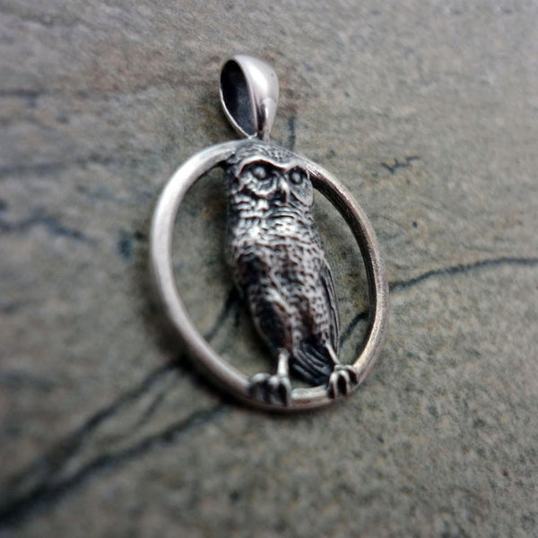 Burrowing Owl Pendant handmade in Sterling or 14k Gold by All Animal Jewelry