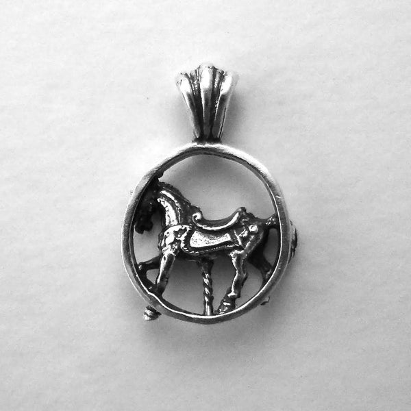 Carousel Horse Pendant handmade in Sterling or 14k Gold by hand made by All Animal Jewelry