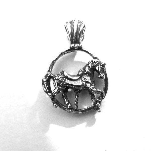Carousel Horse Circle Pendant handmade in Sterling or 14k Gold by Tosa Fine Jewelry