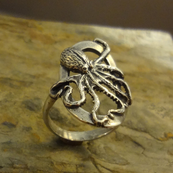 Octopus Ring, Oval, handmade in Sterling or 14k Gold by Tosa Fine Jewelry