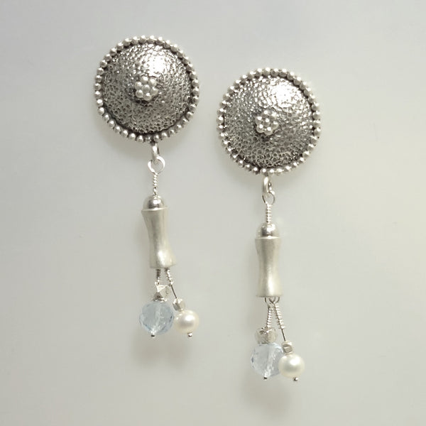 Handmade custom blue topaz, freshwater pearl and sterling silver pierced earrings.