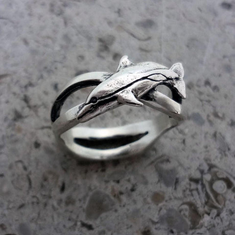 Little Dolphin Wave Ring handmade in Sterling or 14k Gold by All Animal Jewelry