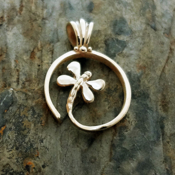 Spiral Dragonfly Pendant - Handmade in 14k gold or Sterling Silver
