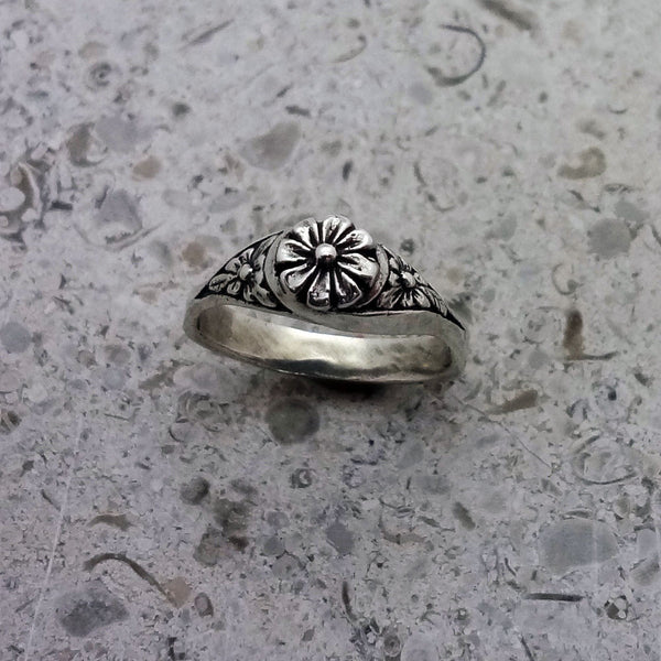 Flower Ring handmade in Sterling or 14k Gold by Tosa Fine Jewelry