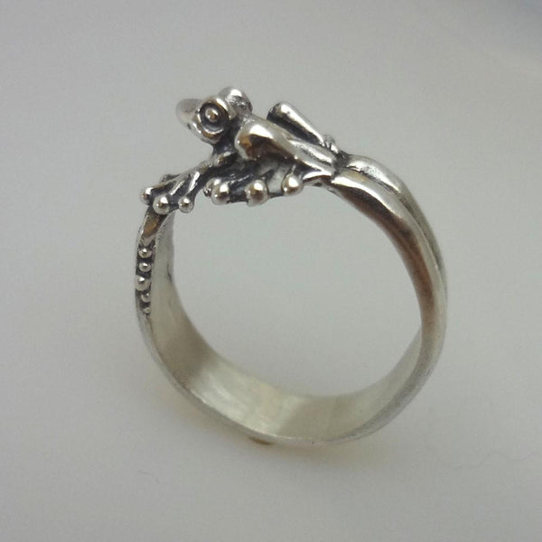 Bubble Frog Ring handmade in Sterling or 14k Gold by All Animal Jewelry