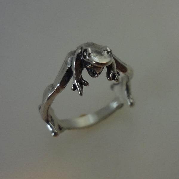 Frog Prince Ring handmade in Sterling or 14k Gold by All Animal Jewelry