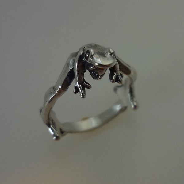 Frog Prince Ring handmade in Sterling or 14k Gold by Tosa Fine Jewelry