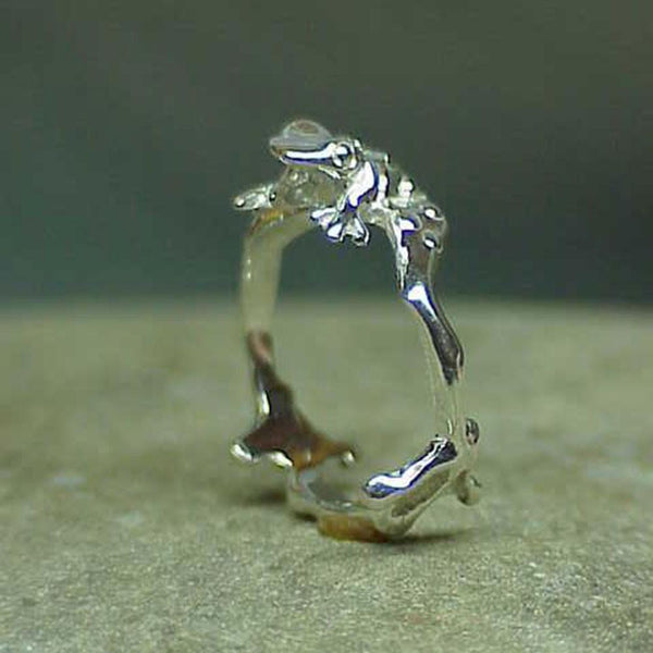 Toad Ring, Small, handmade in Sterling or 14k Gold by All Animal Jewelry