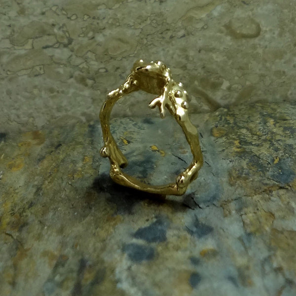 Warty Toad Ring handmade in Sterling or 14k Gold by Tosa Fine Jewelry
