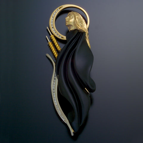 Harvest Moon custom Brooch in 18k, 20k gold, black Jade TomO handmade USA