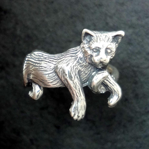 Cat Ring handmade in Sterling or 14k gold by All Animal Jewelry