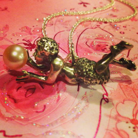 Custom Golden South Sea Cultured Pearl and Sculpture Pendant