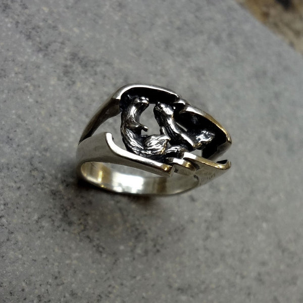 Otter Ring, Large, handmade in Sterling or 14k Gold by All Animal Jewelry