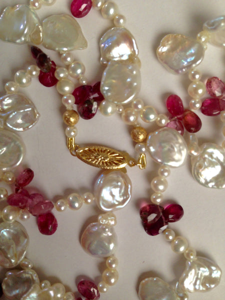 Pearls and Pink Tourmaline Necklace