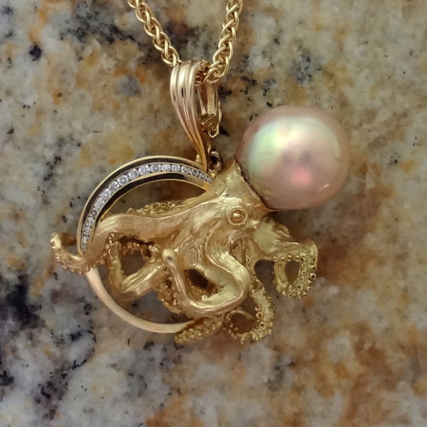 "18k ""Poseidon"" Diamond and Pearl Octopus Pendant"