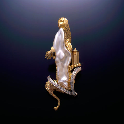 Rapunzel a Custom brooch 18k, 14k Gold, Diamonds, Biwa Pearl  USA.
