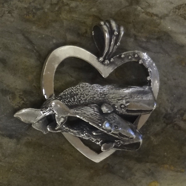 Newfoundland Sperm Whale and Calves Heart Pendant