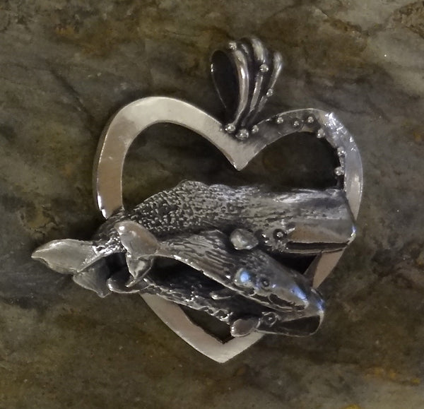 Sperm Whale Mother and Babies Heart Pendant handmade in Sterling or 14k Gold by Tosa Fine Jewelry