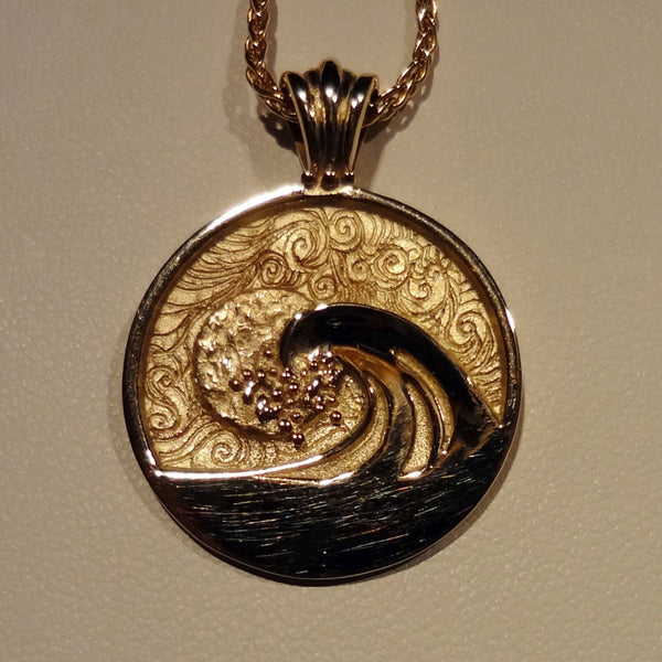 Sunset Wave Pendant handmade in Sterling or 14k Gold by Tosa Fine Jewelry